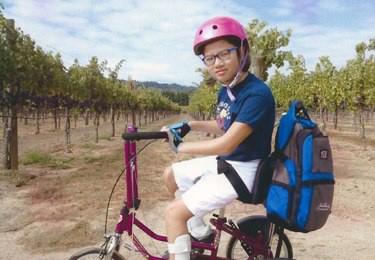 Isabel on her bike